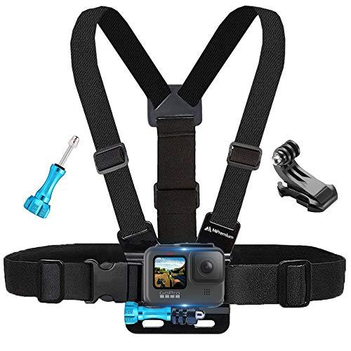 MiPremium pettorale compatibile con GoPro Hero 8 7 6 5 4 3 3+ 2 Fusion Session Black Silver & AKASO EK7000 Sjcam Sport Camera Tracolla regolabile + Jhook & Thumbscrew accessorio
