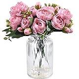 XONOR 4 Bouquets de Fleurs artificielles en Soie Pivoine Artificielle Fausse Fleur glorieuse pour la décoration de Maison Nuptiale de Noce, 5 fourchettes, 9 têtes (Rose)