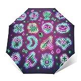 Paraguas automático impermeable para niños, mujeres y hombres, paraguas al aire libre con pegamento negro anti UV, botón de apertura y cierre automático, iconos de Halloween con paraguas de chispa