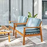 VIFAH Gloucester Contemporary Patio Sofa Club Chair, Golden Oak Wood Color
