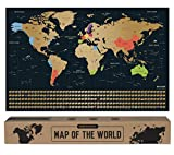 envami Carte du Monde a gratter - 68 X 43 CM - dorée - Planisphere Monde -...
