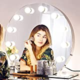 Chende Large Vanity Mirror with Lights, 27.56' x 25.6' Dimmable Hollywood Makeup Mirror for Table Vanity, Round Lighted Mirror with Stainless Steel Frame and Detachable Base, Plug in