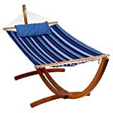 Algoma Net Company 2799W192181SP Reversible Sunbrella Quilted Hammock, 300 lbs. Cap /13' L, Blue