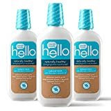 hello Oral Care Naturally Healthy Antigingivitis Fluoride Free and SLS Free Mouthwash with Aloe Vera and Coconut Oil, Blue, 16 Fl Oz (Pack of 3)