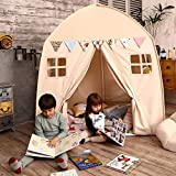 Love Tree Kids Play Tent Castle Large Teepee Tent for Kids with Mat Portable Playhouse Children House Fort Indoor Outdoor Use with Carry Bag for Boys and Girls Beige