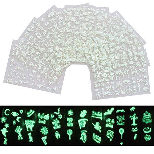 NAIL ANGEL 9Sheets Nail Art Fluorescent Adhesive Sticker Sheets Light Glow in Dark Halloween Sticker Ghost Witch Candy Spider Designs Nail Art Decoration 10242