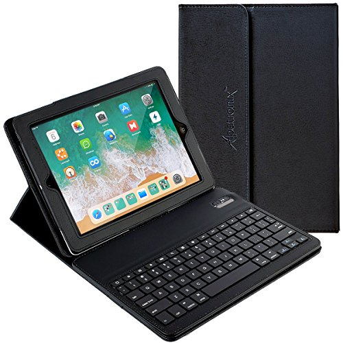 Alpatronix KX100 Leather Folio Case with Removable Magnetic Bluetooth Wireless QWERTY Keyboard with Stand & Auto Wake/Sleep Function Compatible for iPad 2 & 3 & 4 (Black)