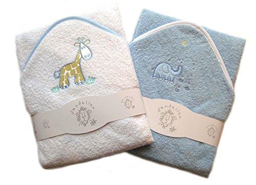 Hochwertiges Baby-Kapuzenbadetuch, 2er-Set, 100 {9f1cf04710d61bcdb39c4a6794027d05421b1888cce1d8045795eb3e85da0cde} Baumwolle, mit niedlichen Tierapplikationen Gr. Säugling, blau