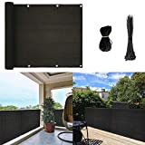 longdafeiUS Privacy Screen Fence Mesh for Balcony Window Light 3'x16' Patio Porch Deck Garden Outdoor Protection Windshield Premium UV Shade Balcony Cover (Black)