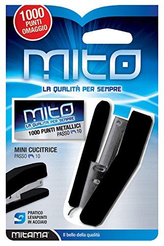 MITAMA 61730- CUCITRICE MINI + 1000 punti nr. 10 con levapunti in acciaio MITO, colori assortiti