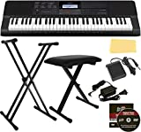Casio CT-X700 Portable Keyboard Bundle with Stand, Bench, Sustain Pedal, Power Adapter, Austin Bazaar Instructional DVD, and Polishing Cloth