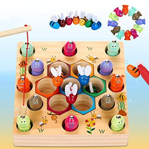 LETOMY Magnetische Angelspiel Holzspielzeug 2 in 1 Montessori Lernspielzeug Magnettafel...