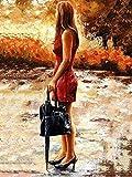 THYGYL Lienzo óleo Pintura DIY Pintura por Números Dibujo Principiante para Adultos y niños con Pintura por números con Pinceles,16 x 20 Pulgadas Without Frame -Maletín Mujer