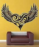 Pegatina de pared de vinilo con alas en forma de corazón, personaje de película, hombre