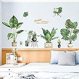 BLOUR Pegatinas de Pared de Hojas Verdes Grandes Creativas Plantas en macetas Frescas decoración del hogar para el Dormitorio decoración de la habitación de Europa Papel Tapiz de Sonrisa