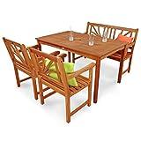 Gartenmöbel Set Lotus Garten Garnitur Sitzgruppe aus Holz 4-teilig Tisch Gartenbank 2 x Stuhl