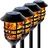 Flickering Flame Solar Pathway Flame Lights - Solar Lights Outdoor Torch Waterproof LED Metal Landscape Lights Heavy Lights Security Path Lights for Garden, Patio, Pathway, Balcony and Pool,4 Pack