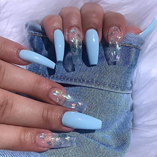 JIAPIANYA 24pcs Long Press on Nails Coffin Fake Nails for Girls Glossy False Nails with Butterfly Designs Blue and Clear Acrylic Nails Press On for Women (Blue)