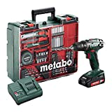 METABO BS18LI Set Perceuse Visseuse 18 V 2 Ah + 74 Accessoires + coffret de...