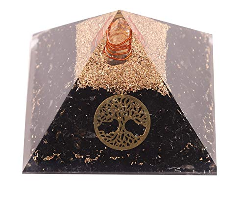 Aatm Energy Generator Black Tourmaline Orgone Pyramid for EMF Protection Chakra Healing Meditation with Crystal, Copper and Life of Tree(3 and 3 Inches)