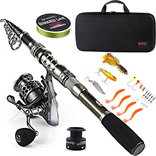 Sougayilang - Canna da pesca telescopica e mulinello in fibra di carbonio e accessori per viaggi in oceano e pesca d' acqua dolce e salata, B079GHFXRJ, Fishing Full Kits with Carrier Case, 2.1M/6.89FT