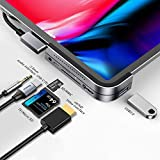 Baseus iPad Pro ハブ USB C Hub 6in1 4K HDMI USB-C 60W PD充電 USB3.0 & 3.5mm ジャック SD/TFカードリーダー iPad Pro 2020 2019 2018 11 12.9 Air 4などUSB-C機種対応 (グレー)