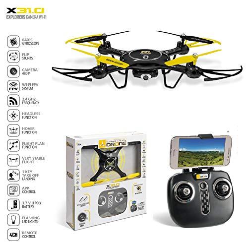 Mondo Motors - Ultra Drone X31.0 Camera Wi-Fi 720 P. - Batteria 3.7 V Li Poly - Funzioni di Sospensione Altitudine | Decollo | Atterraggio | Hover function | Flip Stunts - regalo per bambini