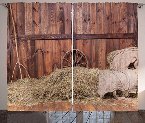 Ambesonne Barn Wood Wagon Wheel Curtains, Rural Old Horse Stable Barn Interior Hay and Wood Planks Image Print, Living Room Bedroom Window Drapes 2 Panel Set, 108