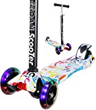 EEDAN Scooter for Kids - 3 Wheel T-bar Adjustable Height Handle Kick Scooters with Max Glider Deluxe PU Flashing Wheels Wide Deck for Children from 2 to 14 Year-Old (White)