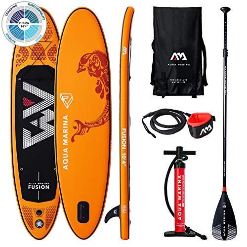 Aqua Marina Fusion-All-Around iSUP, 3.15m/15cm, with Paddle and Safety Leash, Adultos Unisex, Orange, Uni