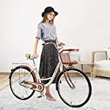 26 Inch Women's Cruiser Bike,Classic Bicycle Retro Bicycle Beach Cruiser Bicycle Retro Bicycle (Women's Bike,Lady) (Beige)