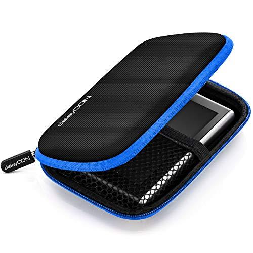 deleyCON Navi Tasche Navi Case Tasche für Navigationsgeräte - 4,3 Zoll & 5 Zoll (14,6x9,3x3,4cm) - Robust Stoßsicher 2 Innenfächer - Blau