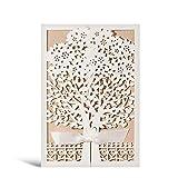 WISHMADE Tarjetas de invitaciones de boda con corte lser con invitaciones florales para el matrimonio de compromiso de cumpleaos (rosa y blanco) 20 piezas