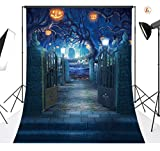 LB Halloween Photo Backdrop 5x7ft Pumpkin Lantern Horror Spooky Night Photography Backdrop for Pictures Customized Vinyl Photo Background Studio Props
