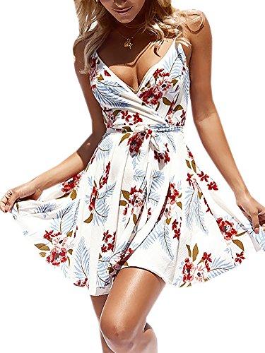 ECOWISH Damen Kleid Sommerkleid V-Ausschnitt Ärmellos Blumendruck Spaghetti Strap Mini Swing Strandkleid Mit Gürtel Weiß L