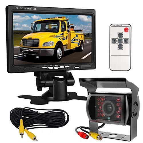 Monitor con schermo LCD HD TFT da 7 pollici 12V-24V da auto, e telecamera posteriore 18 LED IR impermeabile, per autobus, camion, rimorchi, per visione notturna, retromarcia, con 10m di cavo video.