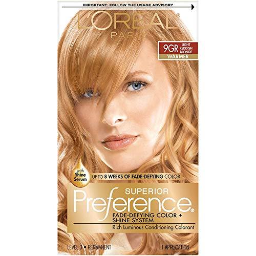 L'Oreal Paris Superior Preference Fade-Defying + Shine Permanent Hair Color, 9GR Light Golden Reddish Blonde, Pack of 1, Hair Dye