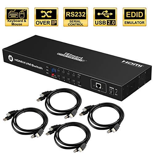 TESmart 4K UHD 8 Ports Eingänge HDMI KVM Switch, Steuerung von bis zu 8 Computern/Servern, USB 2.0 Gerät, RS232/ LAN Port Control Switch, Rack Mount Switch mit 4 Stück 5ft/1.5m KVM Kabel