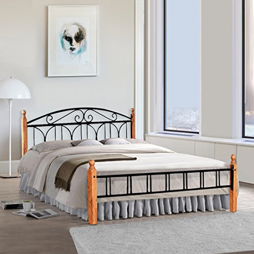 FurnitureKraft Georgia Metal Queen Size Double Bed with Wooden Leg