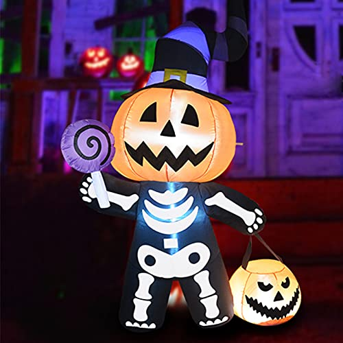 GOOSH 6 FT Height Halloween Inflatable Outdoor Pumpkin with Skull Body, Blow Up Yard Decoration Clearance with LED Lights Built-in for Holiday/Party/Yard/Garden