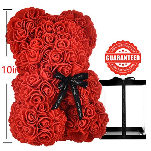 Rose Bear Gifts for Mom Women Teen Girls Her, Luxury Rose Teddy Bear Rose Bear Teddy Rose Flowers Rose Bears Valentines Day,Bridal,Weddings,Anniversaries,Birthdays,Graduation - Rose Bear with Box (red
