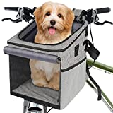 Abrimelodi Dog Bike Basket, Collapsible Dog Bike Carrier 15 lbs Soft-Sided Dog Basket for Bike, Backpack with Reflective Tape, Bicycle Pet Carrier for Small Medium Dogs & Cats