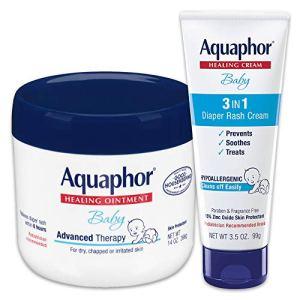Aquaphor Baby Skin Care Set - Includes 14 Oz. Jar of Advanced Healing Ointment & 3.5 Oz Tube of Diaper Rash Cream, 2… 2