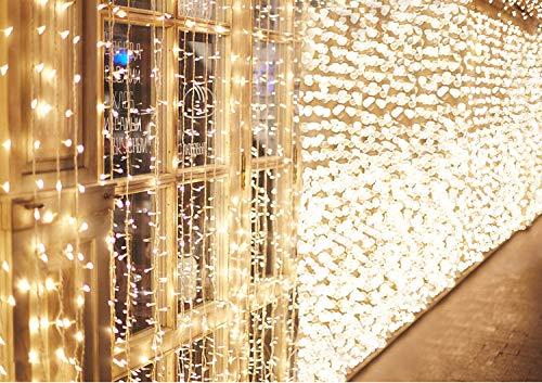 IDESION 600 LED 6M x 3M Tenda Luminosa Natale Esterno/Interno, Tenda Luci Natale IP44 con 8 Modalit di Illuminazione Natale Decorazioni Casa, Camera da Letto, Giardino- Luci LED Natale Bianco Caldo