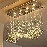 Moooni Modern Rectangular Crystal Chandelier Lighting Wave Raindrop Pendent Flush Mount Ceiling Light Fixture for Dining Room L31.5' x W11.8' x H27.6'