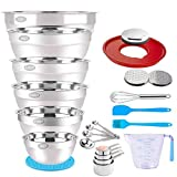 Stainless Steel Mixing Bowls Set, 23PCS Metal Mixing Bowl with 9.4' Lid, Graters Measuring Cups Spoons Nesting Bowls Size 7, 6, 4.5, 3.5, 2.5, 2QT Kitchen Utensils for Cooking Prepping Baking Serving