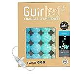Guirlande lumineuse boules coton LED USB - Veilleuse bébé 2h - Adaptateur secteur double USB 2A inclus - 3 intensités - 16 boules 3.2m - Horizon
