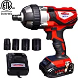 Cordless Impact Wrench 1/2' Max Torque 300N.m Compact Battery Impact Wrench with 4Pcs Sockets, 1.5A Li-ion Battery and Fast Charger, Dobetter-DBCIW20