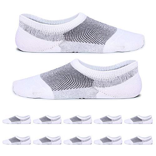 YouShow Uomo Donna calzini corti con cotone 10 Paia invisibili calze antiscivolo(Bianco.35-38)
