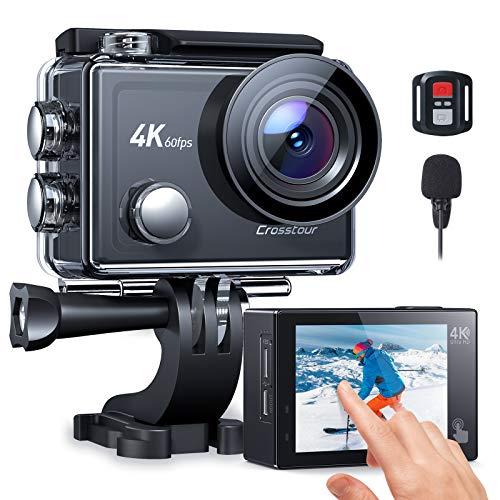 Crosstour Action Cam CT9900, Touch Screen 4K/60FPS Microfono Esterno WiFi, Videocamera Subacquea Super EIS Stabilizzata, Zoom 8X Fotocamere Impermeabile 40M con 2 Batterie 1350 mAh
